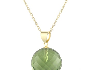 14k Solid Yellow Gold Natural Faceted Ball Green Amethyst Quartz Pendant Necklace