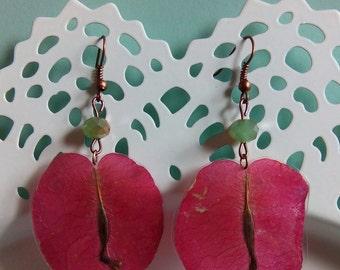 Real Pressed Dry Flower Jewelry Earrings Hand Crafted Bougainvillea Flowers