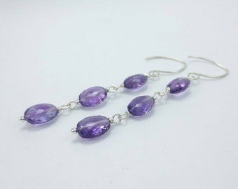 Long Amethyst Earrings, Argentium Silver, Amethyst Earrings Long February Birthstone Earrings, Amethyst Jewelry February Birthday (#1063)