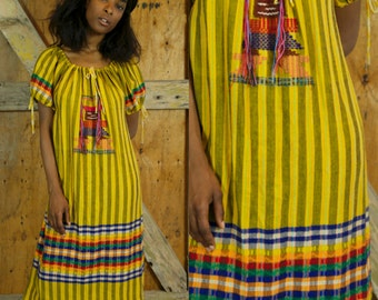 MAYAN MEXICAN EMBROIDERED Tribal Dress Yellow Rainbow Colorful Vibrant Maxi Dress Hippie Boho Festival Traditional Long MuuMuu One Size