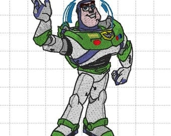 Buzz Lightyear Disney Toy Story Space Ranger Star Command Full Embroidery Digital Design Pattern - INSTANT DOWNLOAD 4x4, 5x7 and 6x10 Sizes