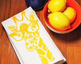 Cotton Napkins - Screen Printed Recycled Cotton Eco Friendly Cloth Napkins - Yellow Giraffe - Wedding Gift