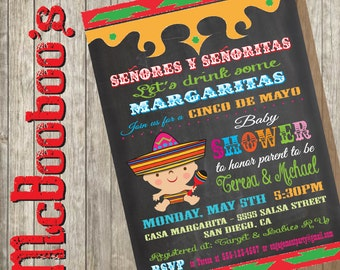 Mexican Fiesta Cinco de Mayo Couples Baby Shower Invitations on a chalkboard background