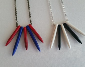 White and Black OR Red and Blue Turquoise Points Minimalist Necklace in Silver or Bronze
