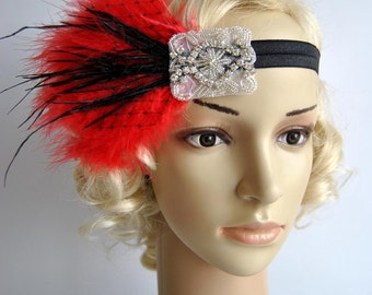 Black Red Flapper Headband,The Great Gatsby headpiece, 1920s Flapper Feather Headband, Vintage Inspired,1930's, Feather, Art Deco headband