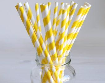 Paper straws yellow stripes - 20 cm - 20pcs