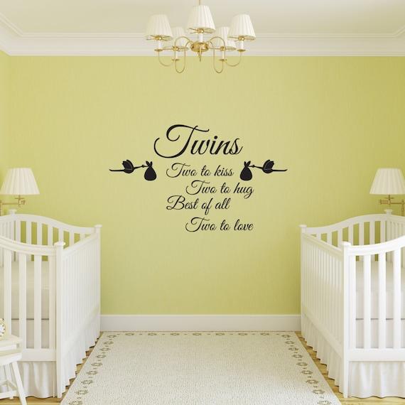 Les Chambre A Coucher Rouge Et Noir : Les bébés jumeaux chambre moyenne Nursery Wall Sticker Art Vinyl
