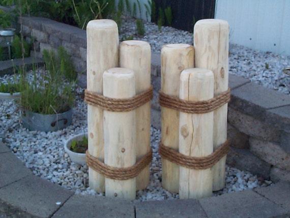 Wooden pilings lawn pier dock ornaments cedar garden decor wood yard