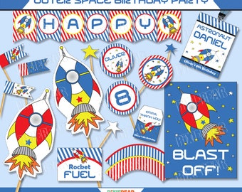 Rocket Party - Space Birthday - Astronaut Party - Space Party - Rocket Birthday - Astronaut Birthday - Outer Space Party (Instant Download)