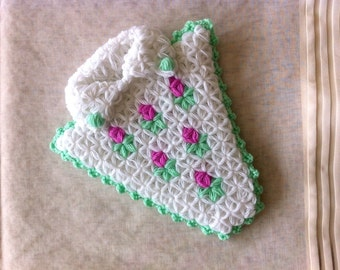 35% OFF! Handmade Turkish Crochet Washcloth/Bath Mitt with Roses and collar (White and Green) - For Bath & Shower