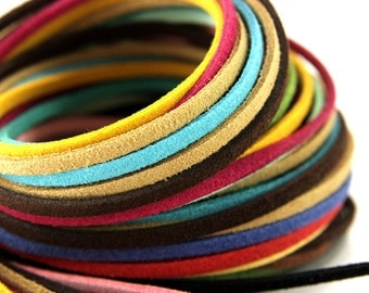 Wholesale 250mt 3mm Suede Leather Cord, Faux Suede Cord, Mix Colour Suede Leather Cord, 3mm Flat Faux Leather, Suede Leather Cord
