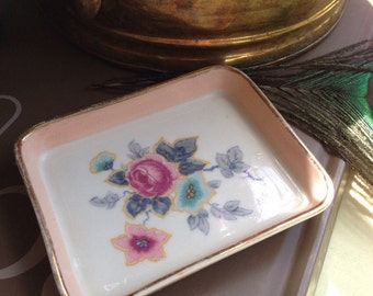 Rectangular Floral Jewelry Dish