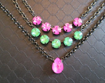 Ultra Pink Swarovski Crystal Necklace/5 Stone Crystal and Gunmetal Necklace/Ultra Green Statement Necklace/Neon Pink Statement Necklace