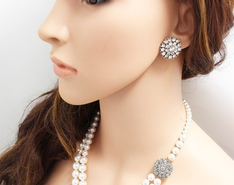 Wedding Jewelry Swarovski Pearl Necklace Double strands Rhinestone Round Necklace Bridal Necklace Bridesmaids Necklace - DIOR