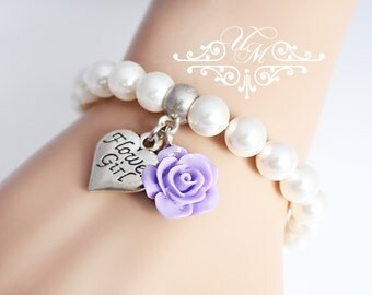Wedding Jewelry Flower girl Charm Bracelet Flower girl Bracelet Pearl Bracelet Children Bracelet Swarovski Pearl Color resin flower bracelet