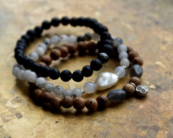Mala bracelet set, Black lava bracelet, Chinese bracelets, Wood mala beads