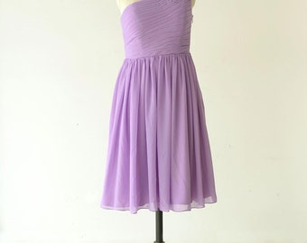 Lilac Bridesmaid Dress One Shoulder Pleated Chiffon Knee Length