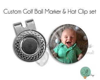 CUSTOM PHOTO Magnetic Golf Ball Marker & hat clip set - golf ball marker - Your Photo on a Golf Ball Marker - Gift for golfer - Father's Day