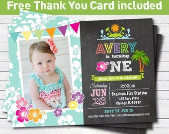 Luau birthday beach party invitation. baby girl 1st first birthday invitation. turquoise hawaii hula pool party. photo card printable. KB001
