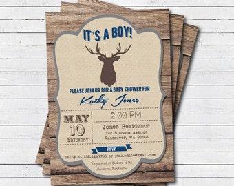woodland baby boy shower invitation. rustic wood, it's a boy, baby shower printable digital invitation. B070