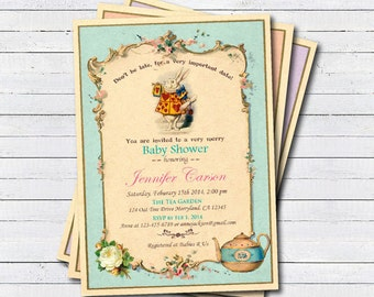 Mad hatter baby shower tea party invitation. Baby boy, girl. Vintage turquoise, teal, aqua, pink.Alice in wonderland baby shower invite B100