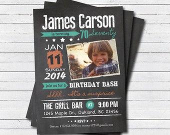 Surprise 70th birthday invitation. Man. Vintage chalkboard, orange teal. man 40th 60th 70th 80th 90th birthday printable photo invite AB016