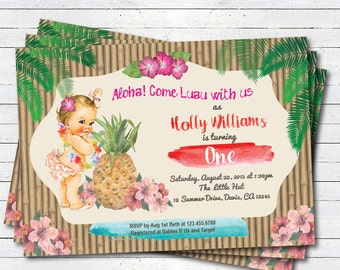 Luau 1st first birthday invitation. Girl, boy. Vintage baby. Summer tropical pool party, beach birthday party printable invite. KB139
