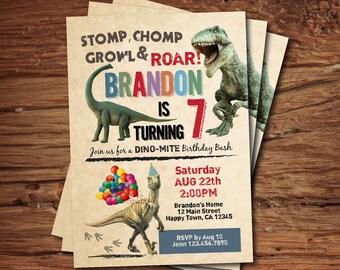Dinosaur birthday invitation. Boy kids birthday invite. Rustic retro dinosaurs. Dino-mite printable digital invite. KB141