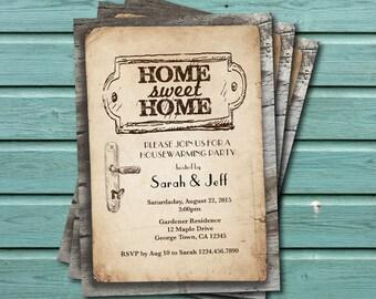 Rustic wood housewarming party invitation. Vintage home sweet home housewarming party. Couples shower printable digital invite. H017