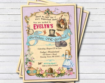 Alice in Onederland invitation. Girl first 1st birthday. Alice in wonderland mad hatter party invitation. Birthday tea party printable KB165
