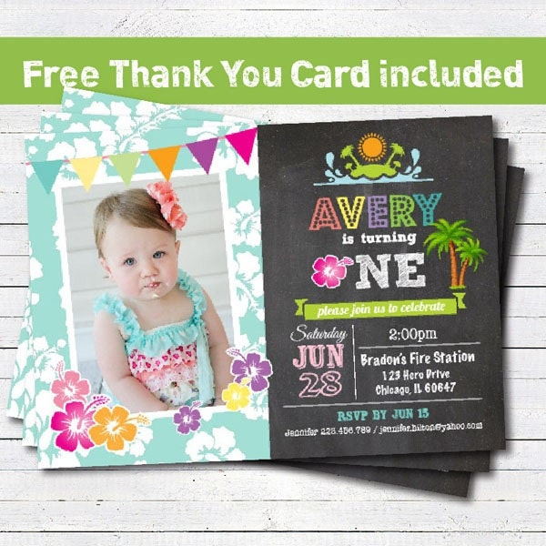 Luau birthday beach party invitation baby girl 1st first – Baby Girl 1st Birthday Invitations Free