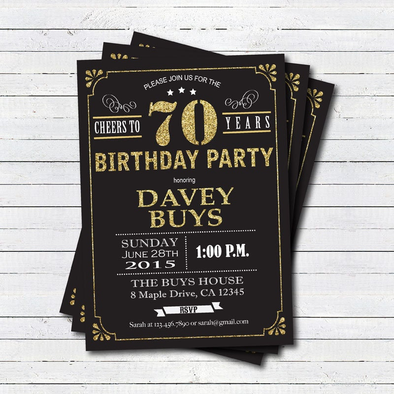 70th Birthday Invitation. Black And Gold Cheers To 70 Years