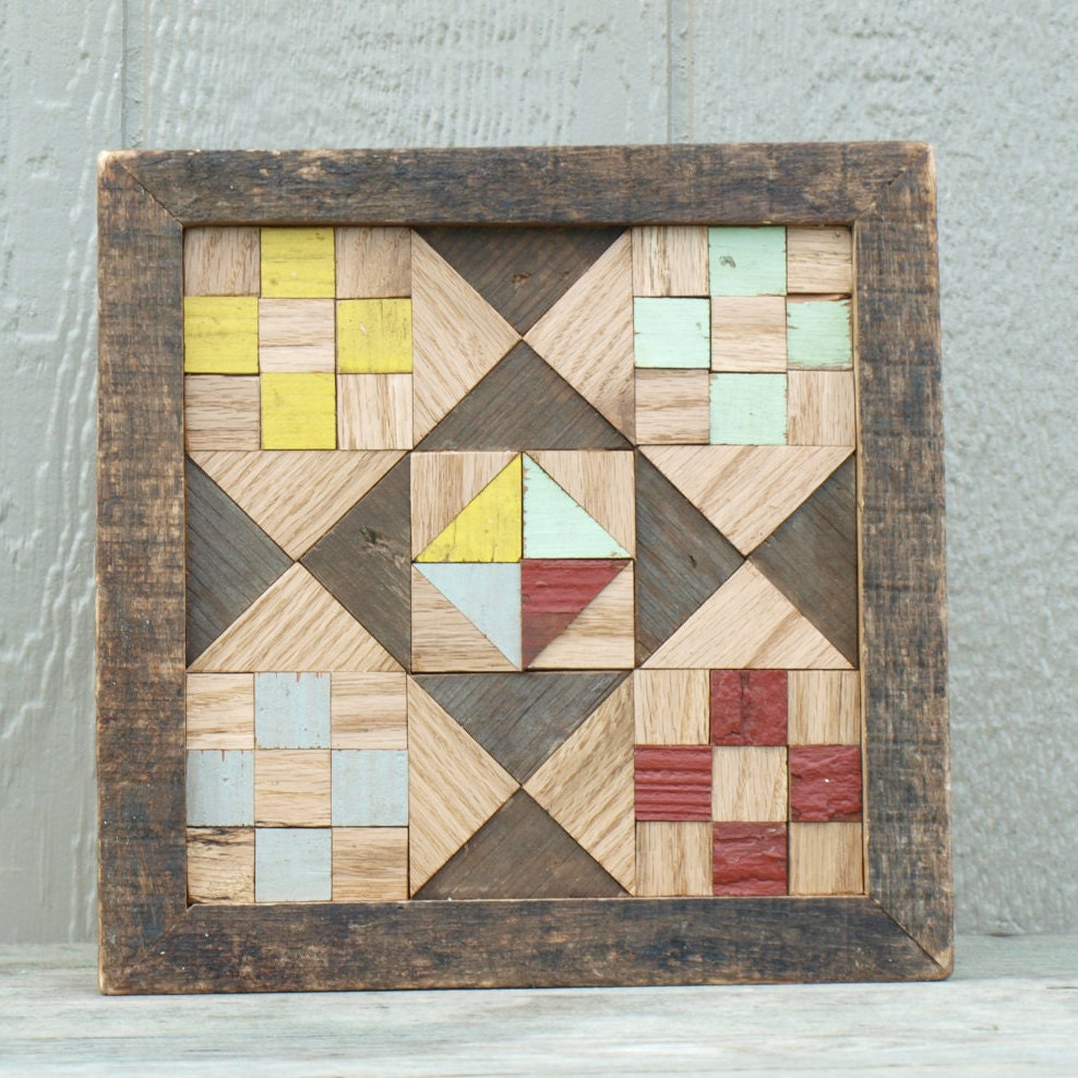 Geometric Quilt Block Salvaged Wood Barn By
