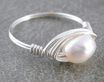 White Pearl Ring Sterling Silver Wire Wrapped Ring Handmade Rose Gold Freshwater Pearl Solitaire Ring White Pearl Bridal Jewelry