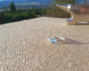 Swarovski Aqua Handmade Sterling Silver Ring