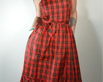 Taffeta Dress// Plaid 60s Dress// Ruffle Plaid Dress