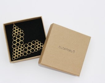Honeycomb 'V' Necklace. Statement Yellow Gold Vermeil Necklace
