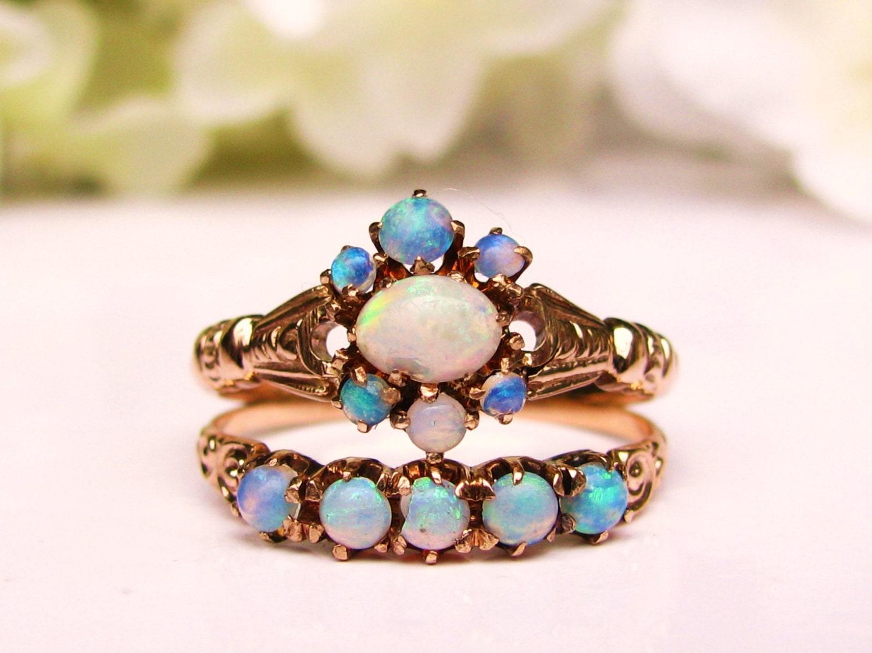 antique opal bridal set opal antique engagement ring 14k