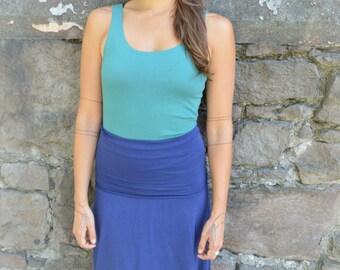Bell skirt/dress - organic cotton knee length convertible skirt dress