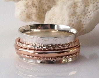 Rose Gold Ring, Spinner Ring, Sterling Silver Ring, Wedding Ring, Meditation Ring,