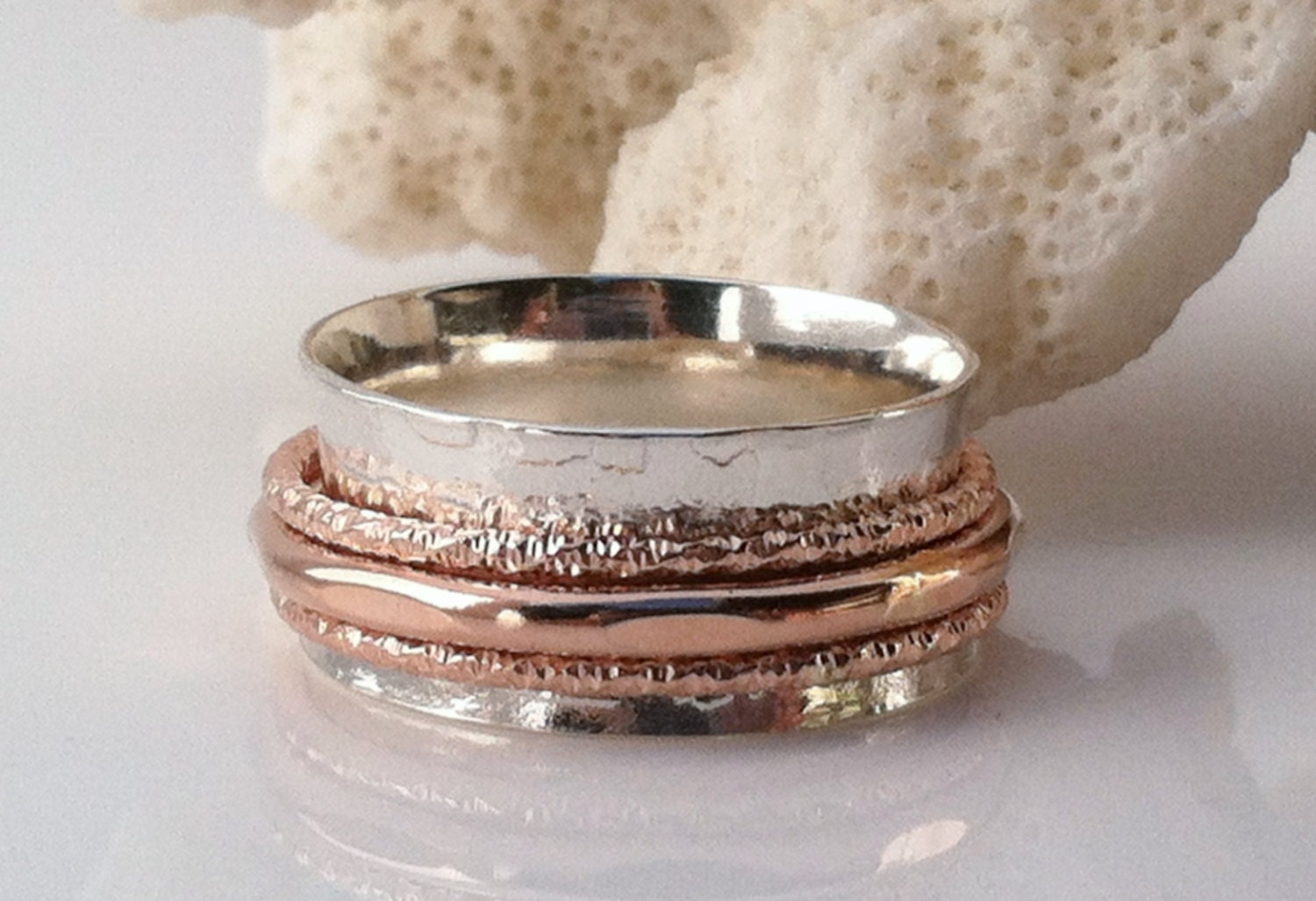 Rose Gold Ring Spinner Ring Sterling Silver Ring Wedding