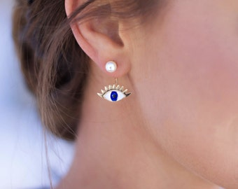 Single Gold Evil Eye Ear Jacket Earring - Ear Jacket, Evil Eye Earrings, Pearl Ear Jacket, Pearl Ear Cuff