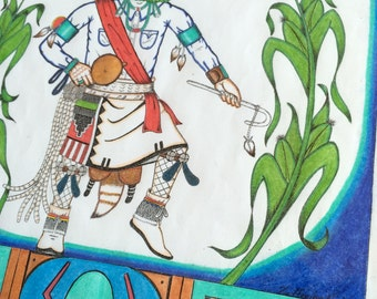Hopi art Native American Corn dancer Kachina framed drawing & colored pencil print spiritual sustenance