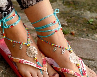 2017 Summer Fashion Trends. Barefoot Sandals. Blue Hippie Shoes. Silver Gypsy Bellydance Shoes