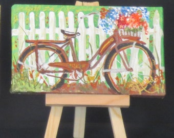 "Basket Of Flowers, Bike , Mini Painting With Easel , Acrylic Mini , 3"" x 5"" mini canvas"