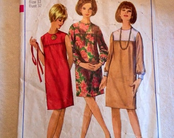 1966 Simplicity pattern 6578 Misses size 12 One-Piece Dress