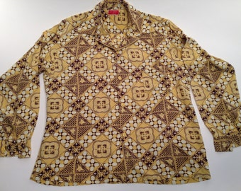 1940's Hawaiian//ALOHA//Cotton/Rayon Shirt// Loop Collar // from Honolulu// Mens LARGE