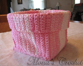 Hand Crocheted Variegated Pink and White Square Spa Basket for Bath or Home Decor