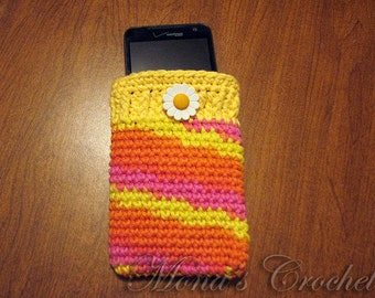 Hand Crocheted Mobile Phone Cozy For LG Revolution or Similar Sized Mobile Phones - Variegated Pink, Orange and Yellow