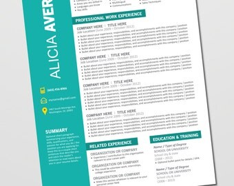 Resume Design Template - Cover Letter, References - Instant Download Microsoft Word - Editable, Teal, Yellow, Black, White (Alicia Template)